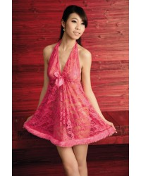 V-Neck Lace Chemise with Feather Hem