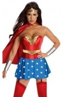 SV3854C Red Wonder Woman Corset with Skirt and Cape