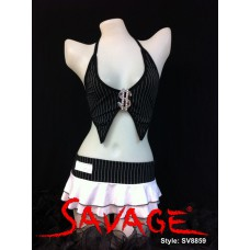 Dollar Sign Gangster Top with Mini Skirt