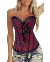 Printed Corset with Trim and G